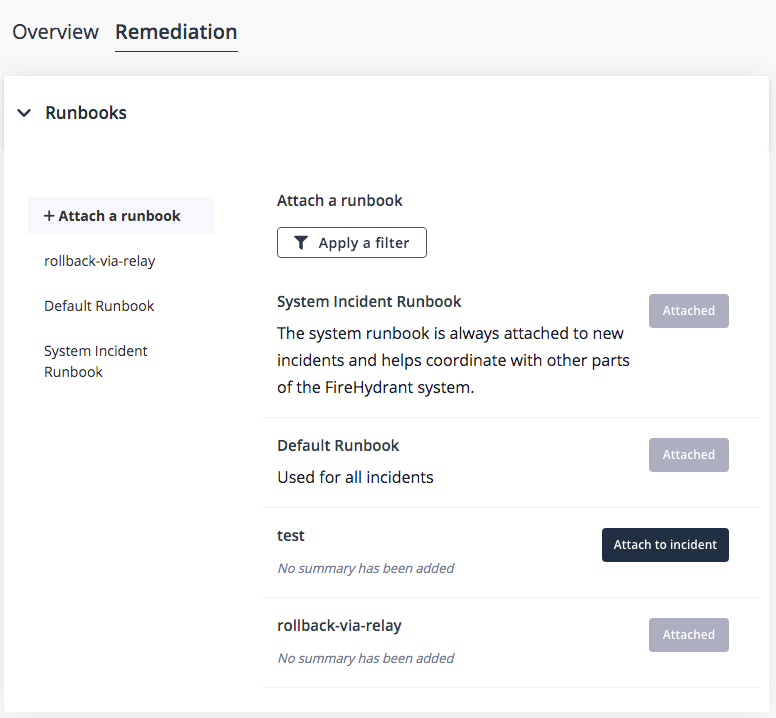 In the Remediation tab, attach the rollback-via-relay runbook