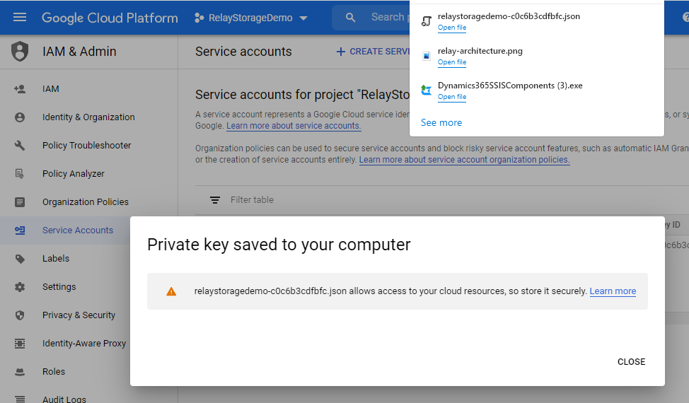 GCP private key saved