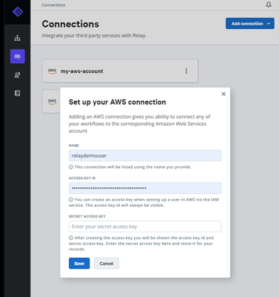 Add AWS connection form
