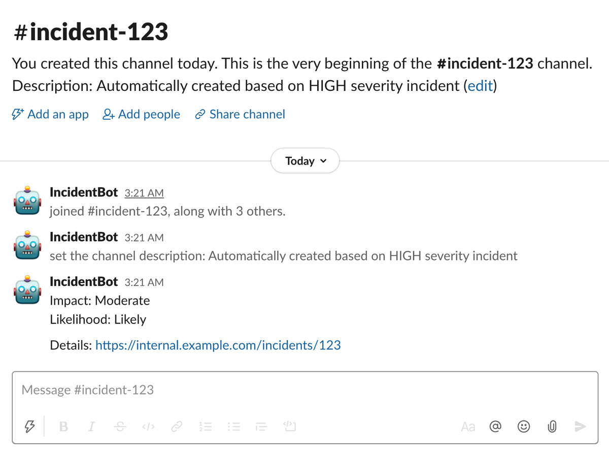 Slack channel used specifically for managing incident lifecycle