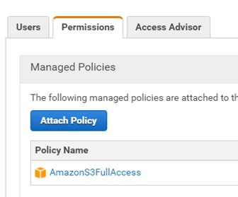AWS permissions and managed policies