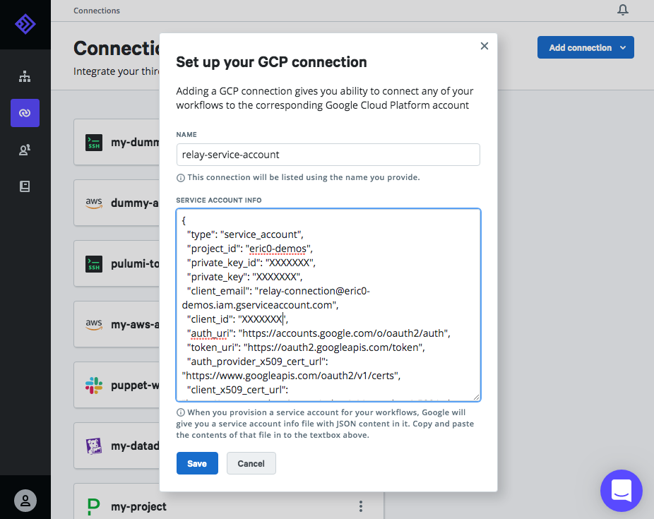 The New Connection dialog in Relay for GCP connections