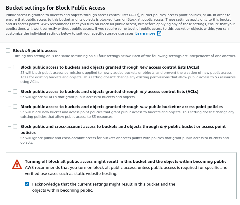 Bucket settings for block public access